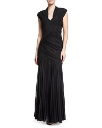 Mignon Ruched Foil V Neck Gown Black