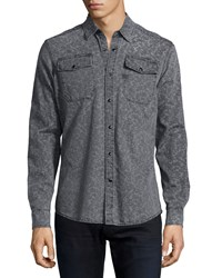 G Star Landoh Printed Denim Shirt Gray