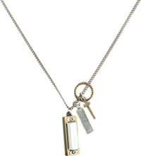 Icon Brand Ring Cross Rectangle And Harmonica On Chain Necklace