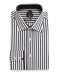 English Laundry Striped Woven Dress Shirt Black