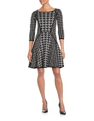 Gabby Skye Round Neckline Printed Dress Black Grey