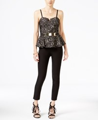 Material Girl Juniors' Lace Peplum Jumpsuit Only At Macy's Black Combo