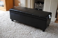 New Black Real Leather Storage Bench Seat Footstool Ebay