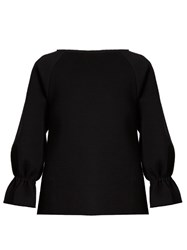 Osman Double Faced Cotton Long Sleeved Top Navy