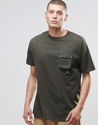 Asos Oversized T Shirt With Military Style Pocket And D Ring Detail Green As Ls Sample