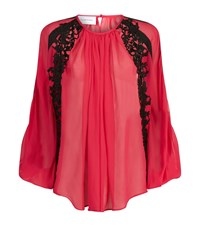 Zuhair Murad Lace Trim Chiffon Blouse Female Multi