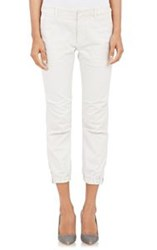 Nili Lotan Brushed Twill Crop Military Trousers White