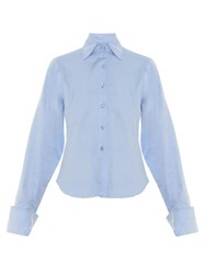 Marques Almeida Oversized Cuff Point Collar Shirt Light Blue