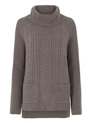 Tulchan Rib And Cable Roll Neck Jumper Grey
