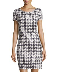 Oscar De La Renta Check Tweed Short Sleeve Sheath Dress Navy White