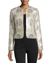 Bagatelle Perforated Open Front Leather Jacket Metallic