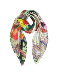 Christian Lacroix Flower Quilt Print Silk Square Scarf White