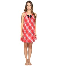 Kate Spade Flannel Chemise Winterly Plaid Red Women's Pajama