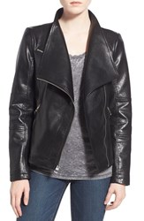 Women's Guess Asymmetrical Zip Faux Leather Jacket Black