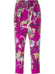 Etro Floral Print Cropped Trousers Pink And Purple