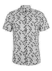 Topman Off White And Black Floral Print Short Sleeve Smart Shirt Brown