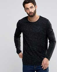 Only And Sons Knitted Jumper In Mixed Slub Yarns Black