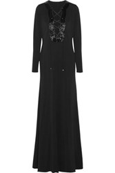 Emilio Pucci Beaded Lace Up Stretch Crepe Gown Black