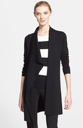 Akris Draped Wool Knit Cardigan Black