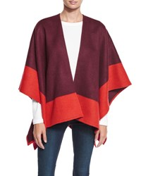Rag And Bone Double Face Colorblock Merino Wool Wrap Berry