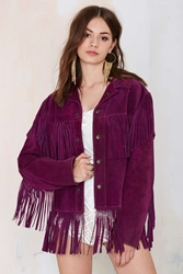 Nasty Gal Vintage Purple Haze Suede Fringe Jacket