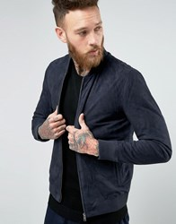 Selected Homme Suede Bomber Navy