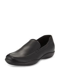 Prada Leather Slip On Loafer With Rubber Sole Black