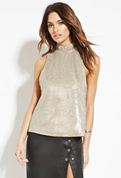 Forever 21 Contemporary Mock Neck Sequin Top Gold