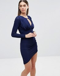 Sistaglam Long Sleeve Dress With Cut Out Chain Detail Navy
