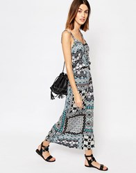 Warehouse Prairie Patchwork Midi Dress Multi