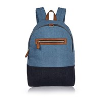 River Island Mens Blue Mixed Denim Backpack