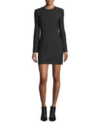 Elizabeth And James Rudi Long Sleeve Crepe Open Back Sheath Dress Black