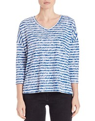 Lord And Taylor Striped Knit Dolman Tee True Blue