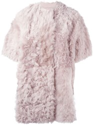 Sword Shearling Short Sleeve Coat Pink And Purple