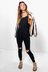 Boohoo Casual Relaxed Fit Jumpsuit Black