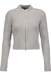 Alexander Wang T By Cotton Blend Ribbed Knit Cardigan Gray