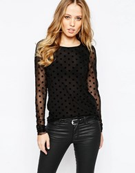 Y.A.S Yas Shedot Long Sleeve Sheer Loose Top Black