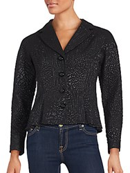 Teri Jon Textured Long Sleeve Jacket Black