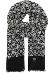 Dolce And Gabbana Floral Motif Scarf Black