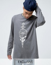 Reclaimed Vintage Oversized Long Sleeve T Shirt With Front And Back Print Grey