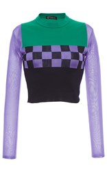 Versace Color Block Knit Long Sleeve Checkered Tee Purple Green Blue