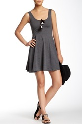 Angie Solid Skater Dress Gray