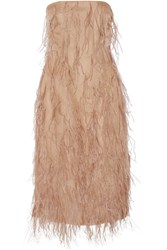 Jason Wu Feather Embellished Silk Organza Dress Sand