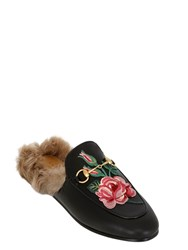 Gucci 10Mm Princetown Rose Leather And Fur Mules