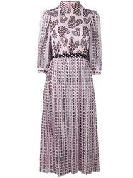 Giamba Floral Pleated Dress Pink And Purple