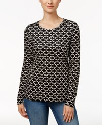 Charter Club Iconic Print Glitter Top Only At Macy's Deep Black Combo