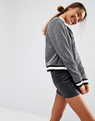 Asos Bomber Jacket In Metallic With Tipping Silver