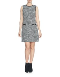 Cece Sleeveless Stretch Tweed Shift Dress Rich Black White