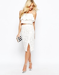 Oasis Lace Wrap Pencil Skirt White