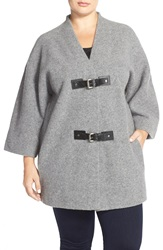 Michael Michael Kors Buckle Front Wool Sweater Coat Plus Size Pearl Heather